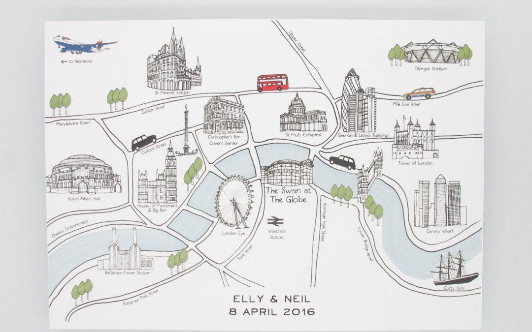 Bespoke London Map Invitations