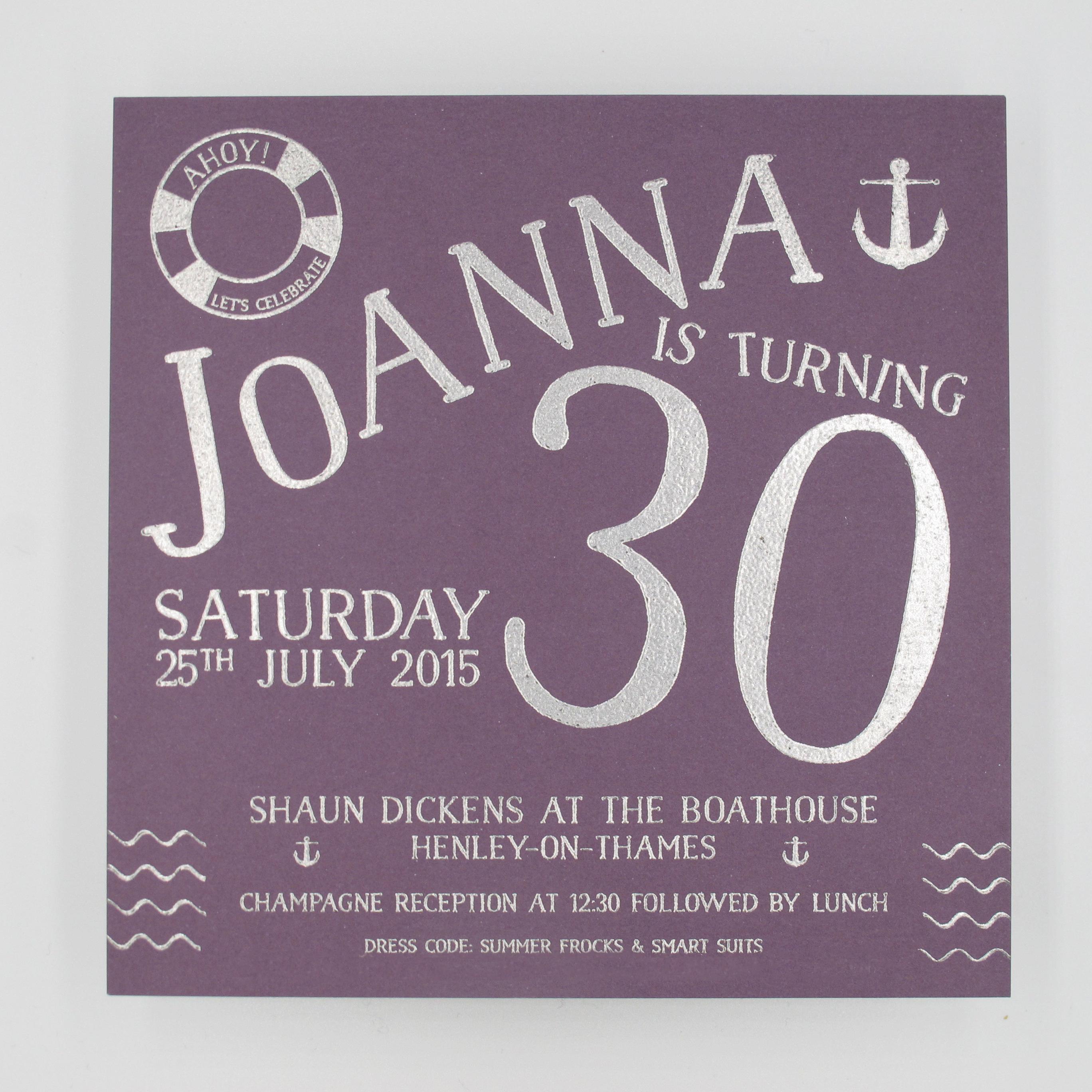 30th Birthday Lunch Invitation