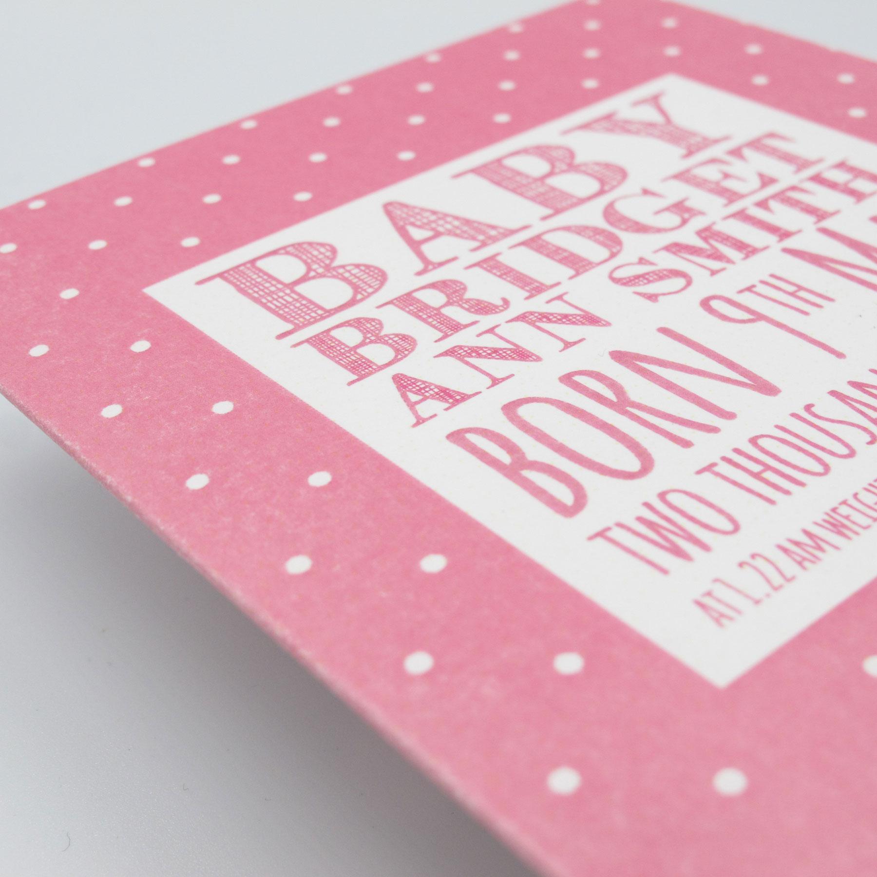 Bespoke Baby Announcement Card