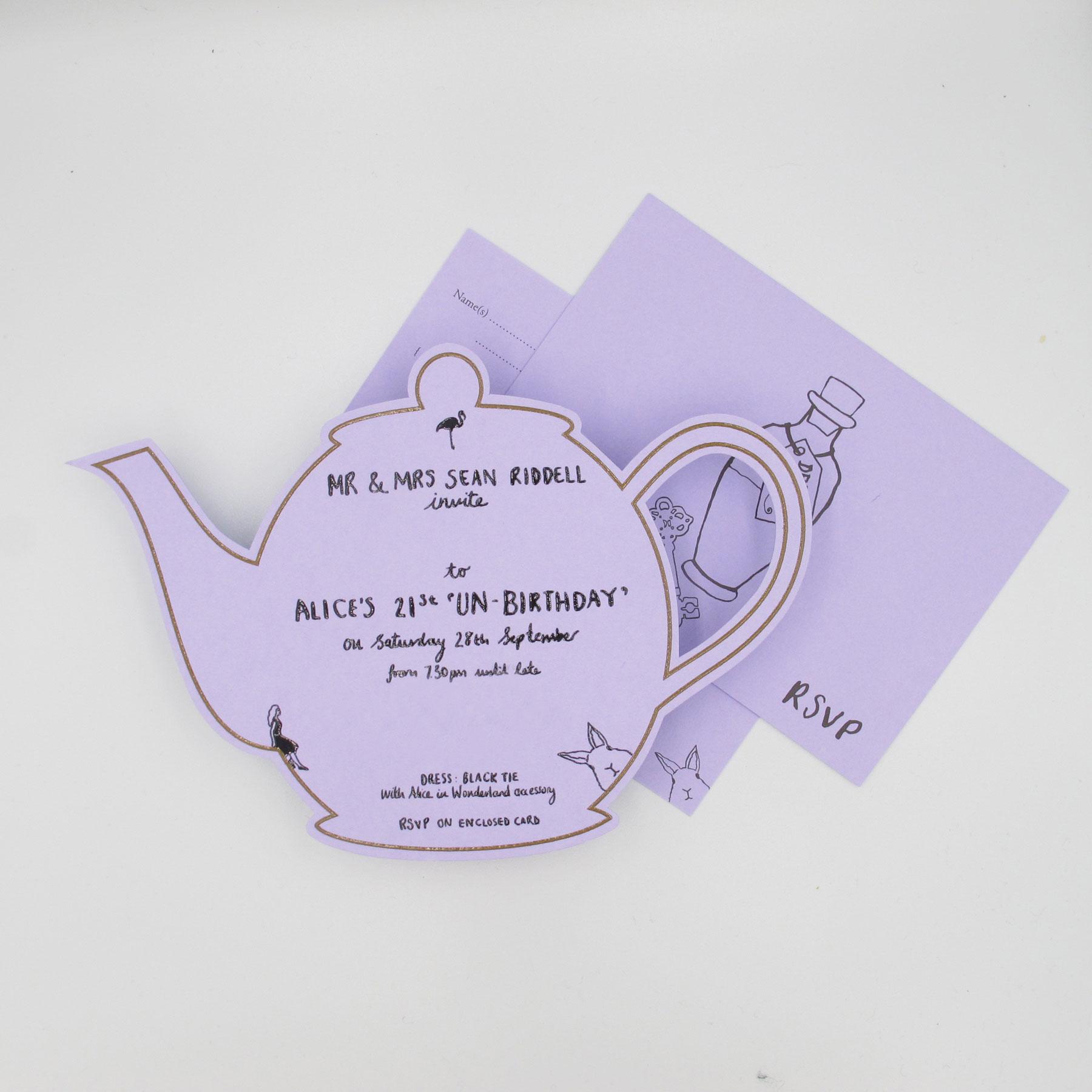 Alice in Wonderland 21st Birthday Invitation