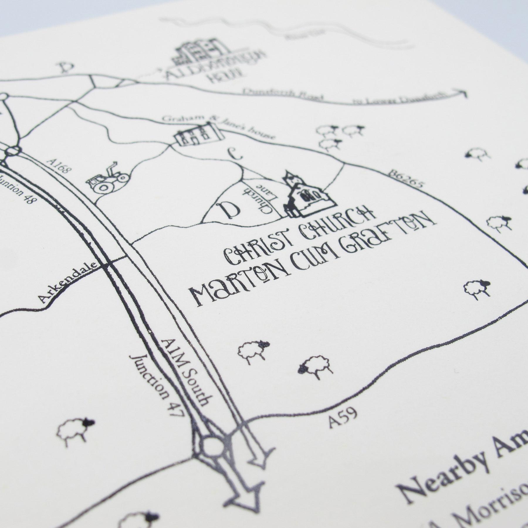 Hand-drawn Yorkshire Wedding Map